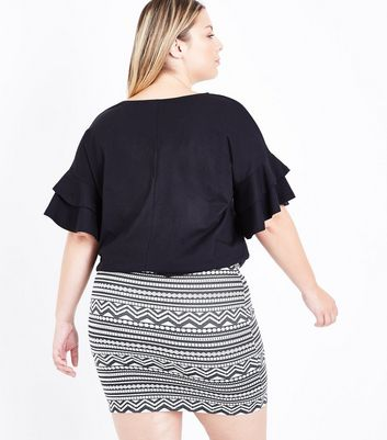 Curves Black Double Frill Sleeve T-Shirt New Look