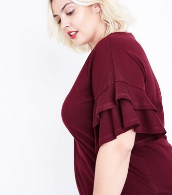 Curves Burgundy Double Frill Sleeve T-Shirt New Look