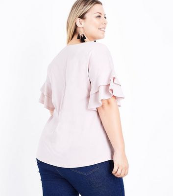 Curves Shell Pink Double Frill Sleeve T-Shirt New Look