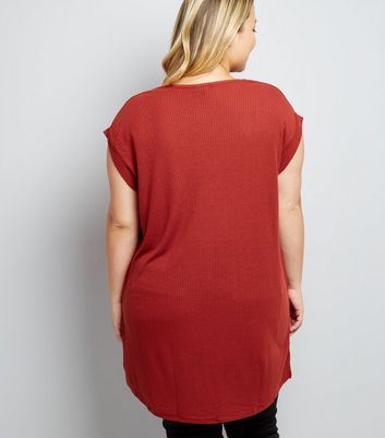 Curves Rust Longline Step Hem T-Shirt New Look