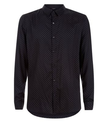 Black Polka Dot Long Sleeve Shirt New Look
