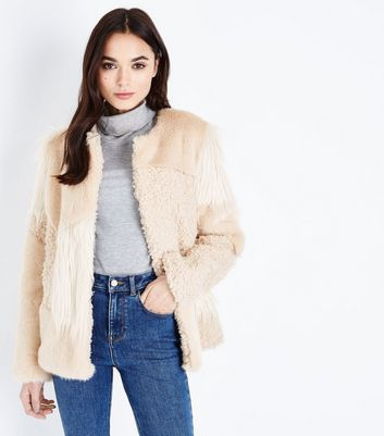 Cream Patchwork Faux Fur Jacket New Look