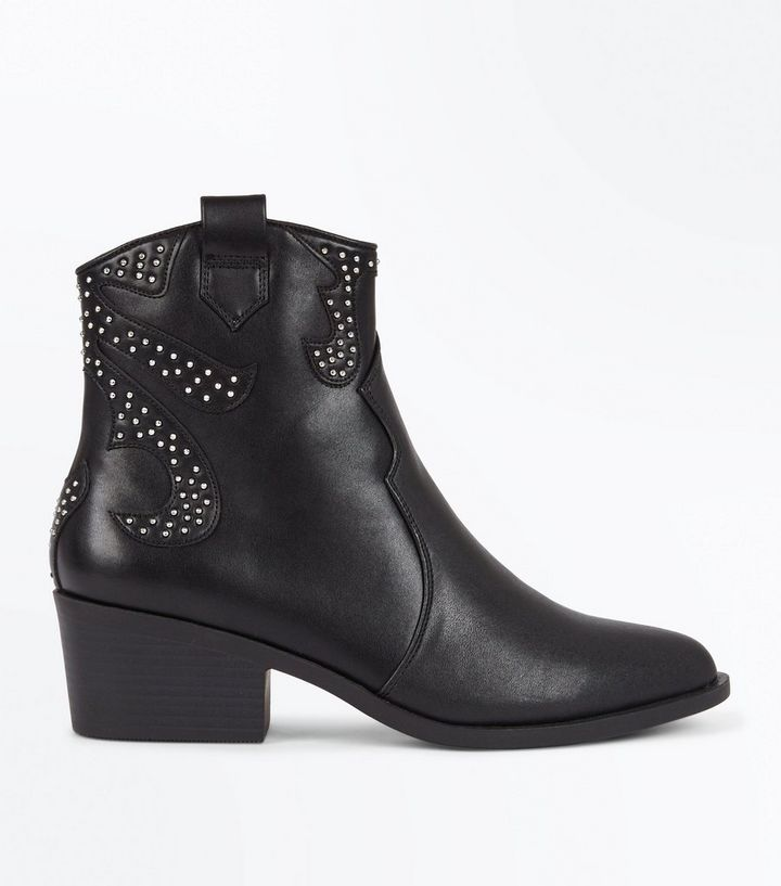 c1eacb90e1a Black Studded Western Ankle Boots Add to Saved Items Remove from Saved Items