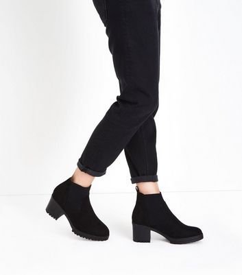 Black Suedette Chunky Heeled Boots New Look