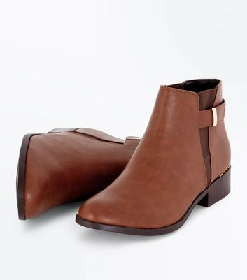 Tan Metal Trim Strap Side Ankle Boots New Look