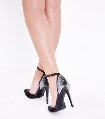 Grey Velvet Diamante Embellished Pointed Heels New Look