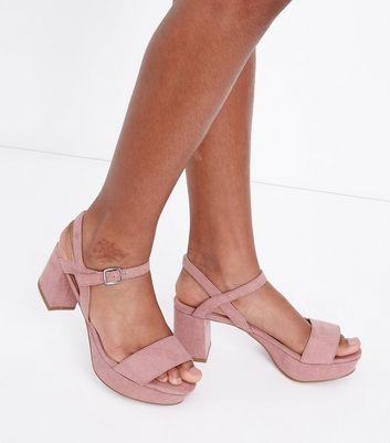 Teens Pink Strappy Suedette Platform Heels New Look