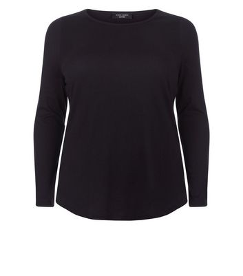 Curves Black Long Sleeve Crew Neck Top New Look