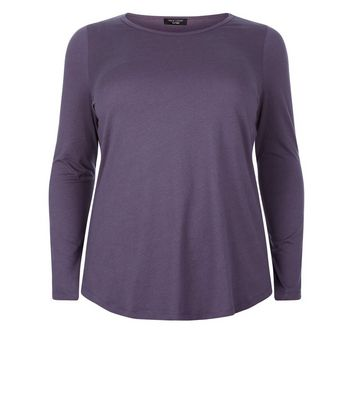 Curves Dark Grey Long Sleeve Crew Neck Top New Look