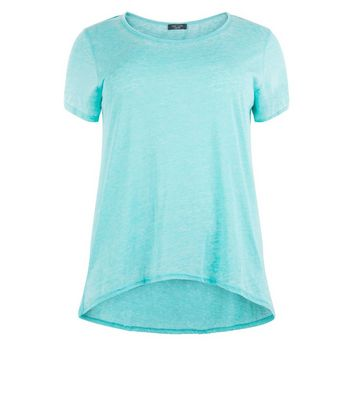 Curves Turquoise Dip Hem T-Shirt New Look