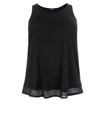 Curves Black Chiffon Hem Vest Top New Look