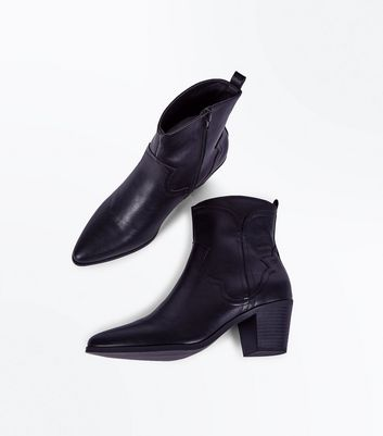 Black Block Heel Pointed Western Boots New Look