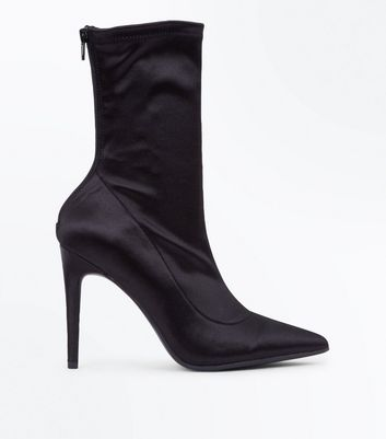 Black Satin Pointed Sock Boots | New Look