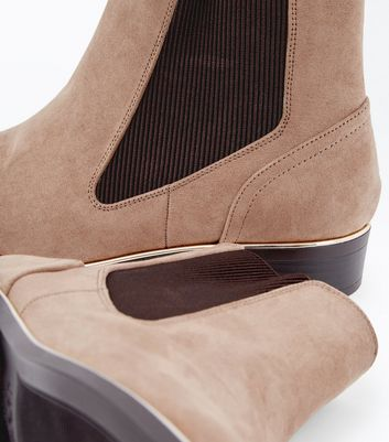 Wide Fit Light Brown Suedette Metal Trim Boots New Look