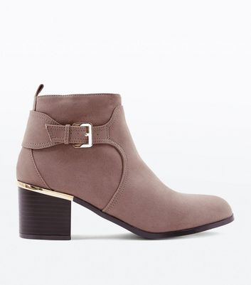 Wide Fit Mink Comfort Suedette Buckle Side Boots New Look