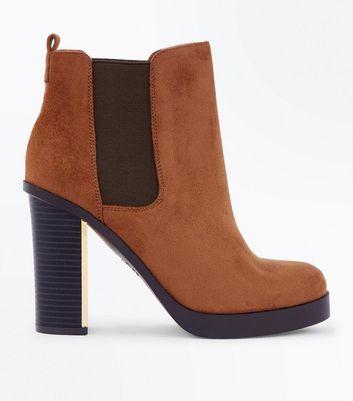 Wide Fit Tan Suedette Metal Heel Chelsea Boots New Look