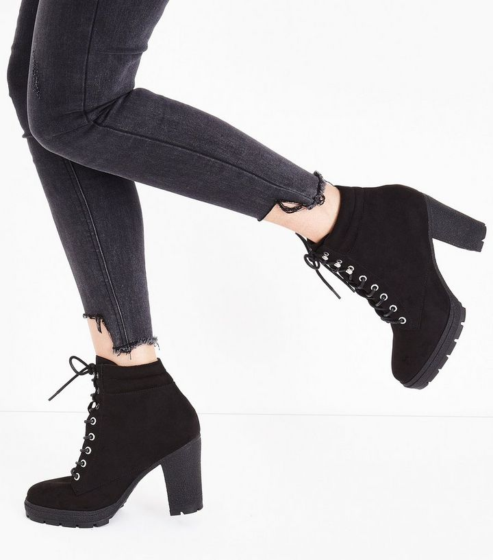 db81ec4d5a Home · Wide Fit Black Suedette Heeled Lace Up Boots. ×. ×. ×. Tap image to  zoom in. Shop the look
