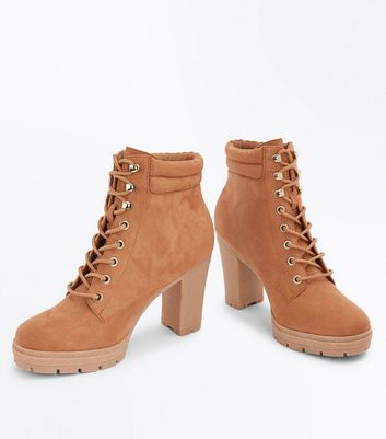 Wide Fit Tan Suedette Heeled Lace Up Boots New Look