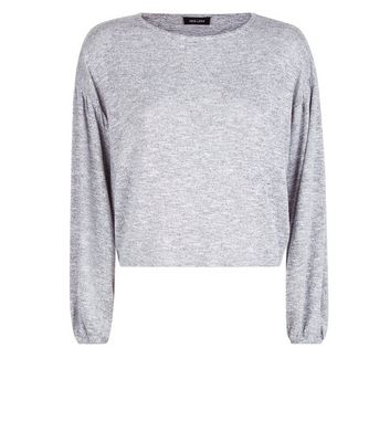 Pale Grey Fine Knit Batwing Sleeve Top New Look