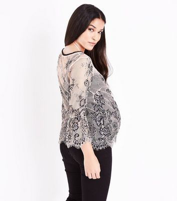 Maternity Shell Pink 2 Tone Lace Bell Sleeve Top New Look