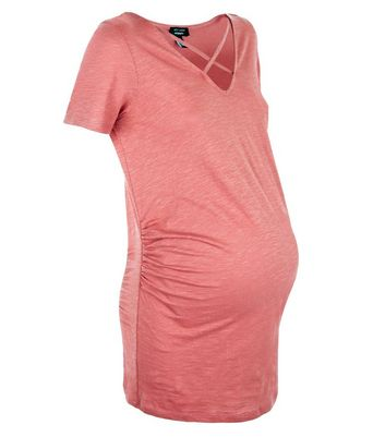 Maternity Rust Lattice Neck Short Sleeve T-Shirt New Look