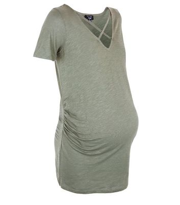 Maternity Olive Green Lattice Neck Short Sleeve T-Shirt New Look