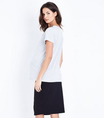 Maternity Grey Lace Yoke T-Shirt New Look