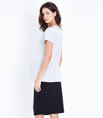 Maternity Grey Lace Yoke T-Shirt New Look