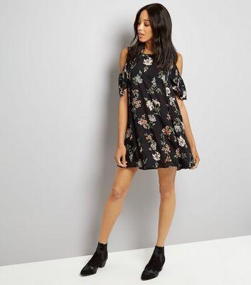 Apricot Black Floral Print Cold Shoulder Dress New Look