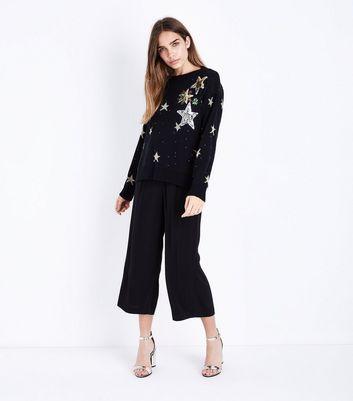 Mela Black Sequin Star Jumper New Look