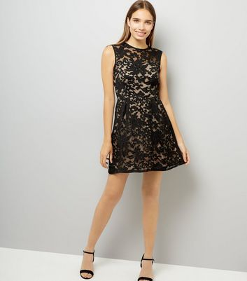 Mela Black Floral Flocked Print Dress New Look