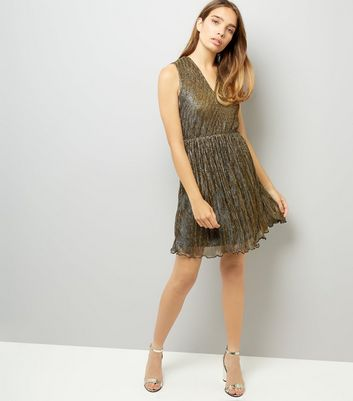 Mela Bronze Frill Hem Dress New Look