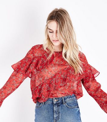 Red Floral Chiffon Asymmetric Frill Trim Top New Look