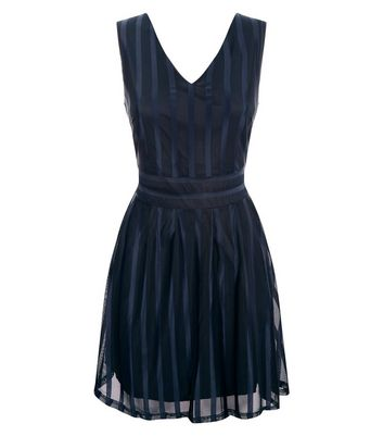 Mela Navy Stripe Shimmer Skater Dress New Look
