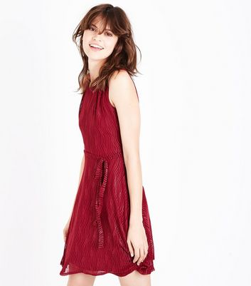 Mela Red Shimmer Stripe Dress New Look