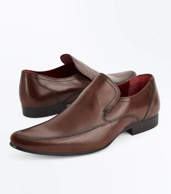 Brown Leather Formal Slip On Shoes New Look