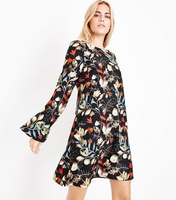 Mela Black Floral Print Bell Sleeve Dress