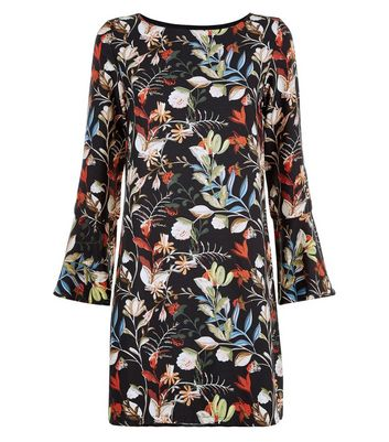 Mela Black Floral Print Bell Sleeve Dress New Look