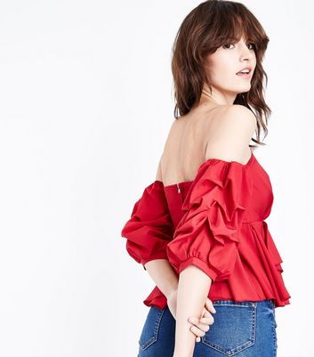 Cameo Rose Red Ruche Sleeve Bardot Neck Top New Look