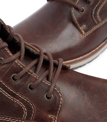 Dark Brown Lace Up Military Boots New Look