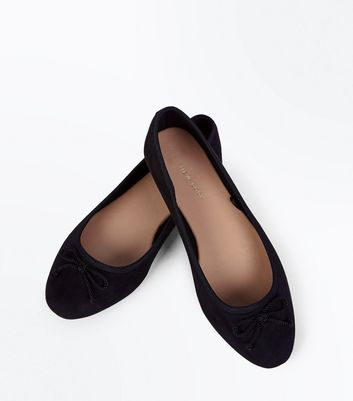 Wide Fit Black Suedette Rope Bow Ballet Pumps New Look