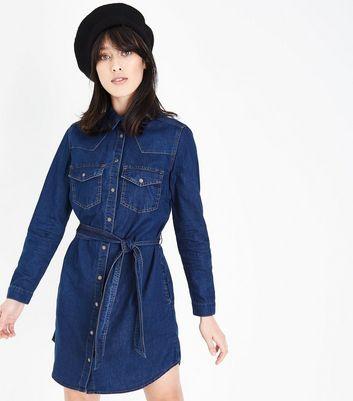 Blue Belted Denim Shirt Dress New Look