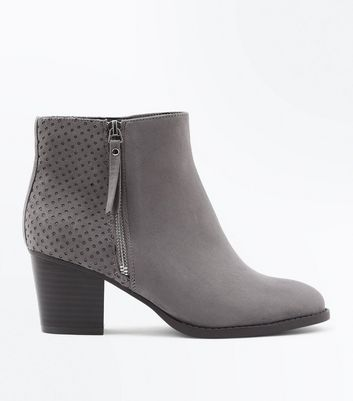 Wide Fit Grey Cut Out Back Western Boots