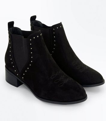 Teens Black Suedette Studded Trim Chelsea Boots New Look