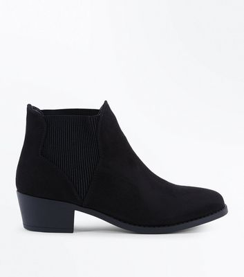 Teens Black Suedette Elasticated Side Chelsea Boots