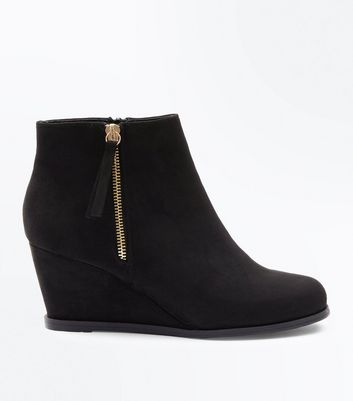 Teens Black Suedette Wedge Boots New Look