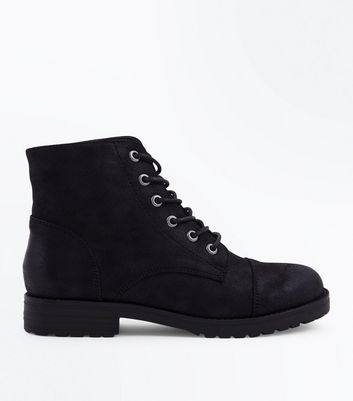 Teens Black Leather Look Worker Boots