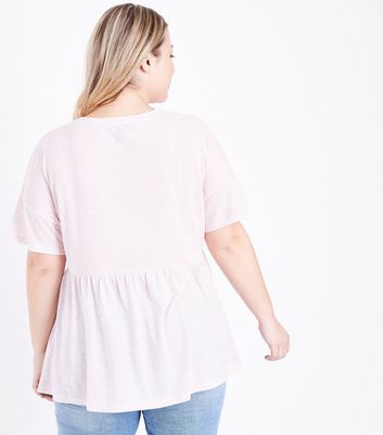 Curves Pink Marl Peplum Hem T-Shirt New Look
