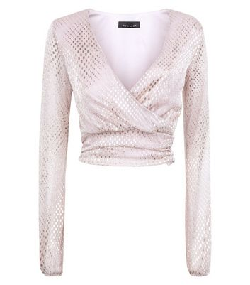 Pink Metallic Wrap Front Crop Top New Look