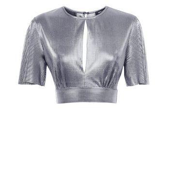 Silver Metallic Plisse Keyhole Crop Top New Look